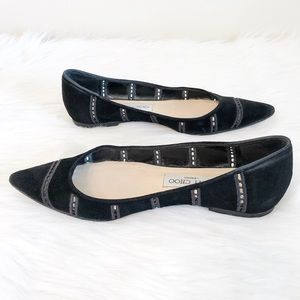 Jimmy Choo Flats Black Suede Point size 7.5/38
